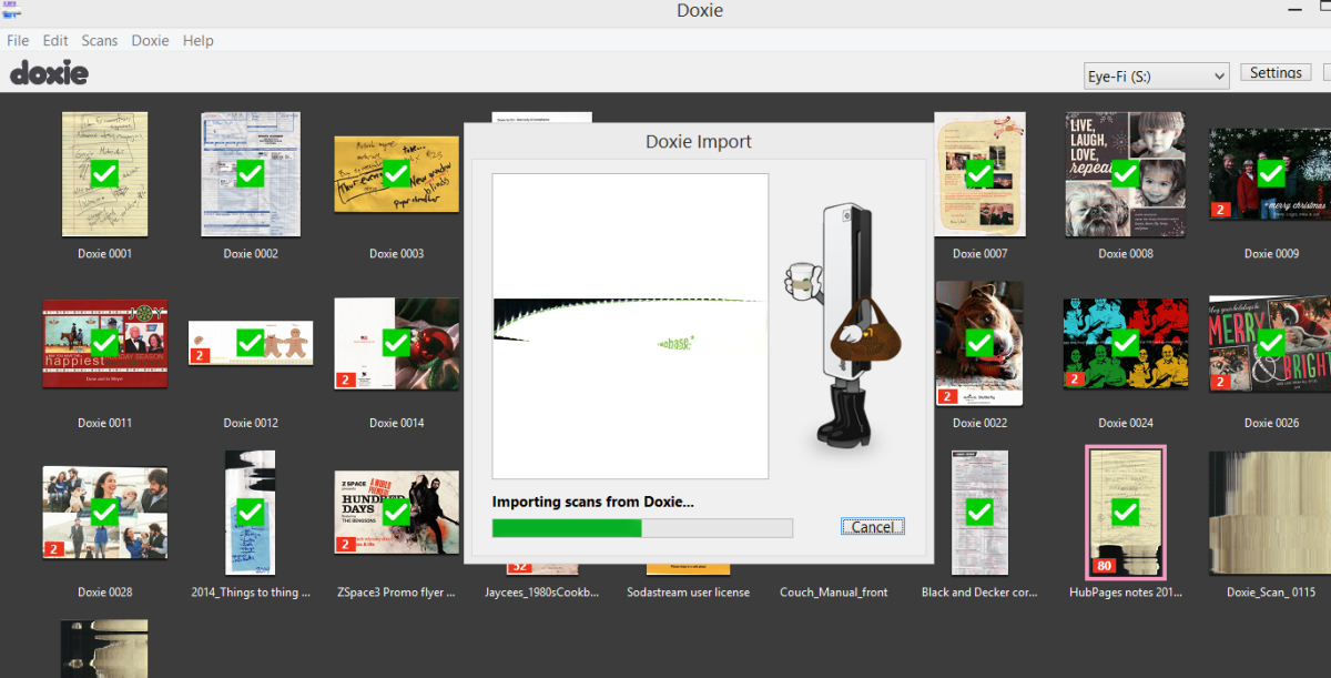 Doxie software showing an image being imported