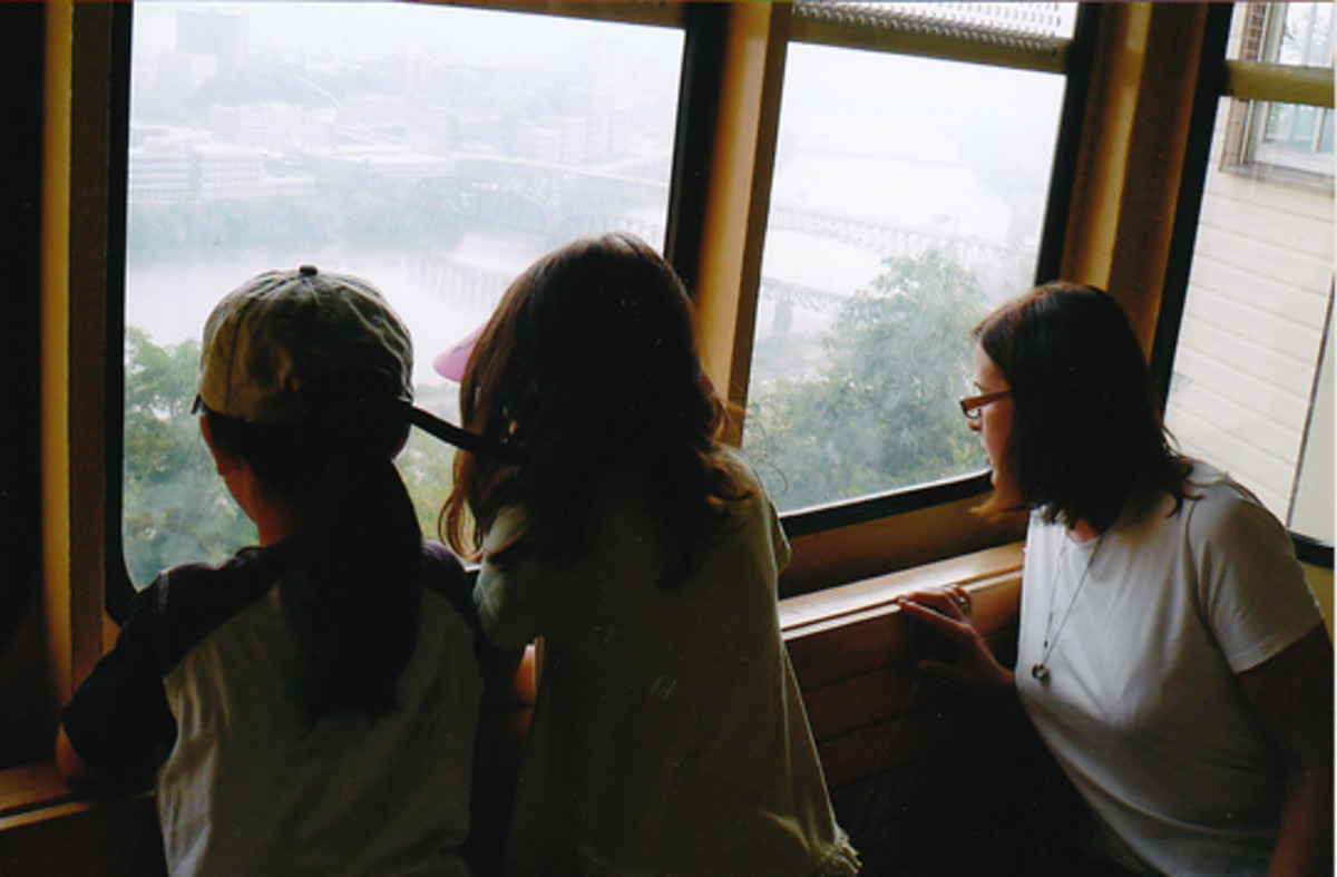My daughters and I looking at the view while traveling on the Incline. People still use it for commuting.