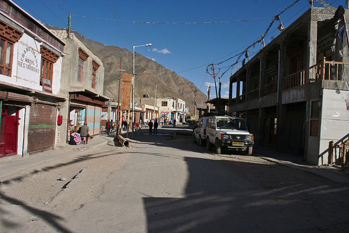 A street of Padum town in Zasnkar Valley