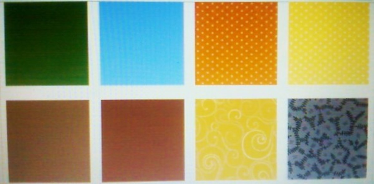 Fabrics (top row, left to right): 3928 Kelly, 3947 Sky, 4008 Orangina, 4010 Honeysuckle (bottom row, left to right): 5696 Curry, 5697 Paprika, 5706 Mustard, and 6421 Brown