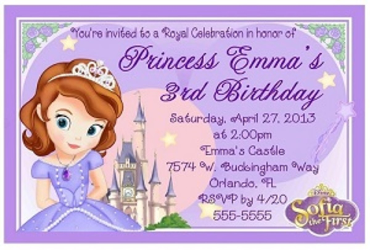Personalized Sofia the first party invitations