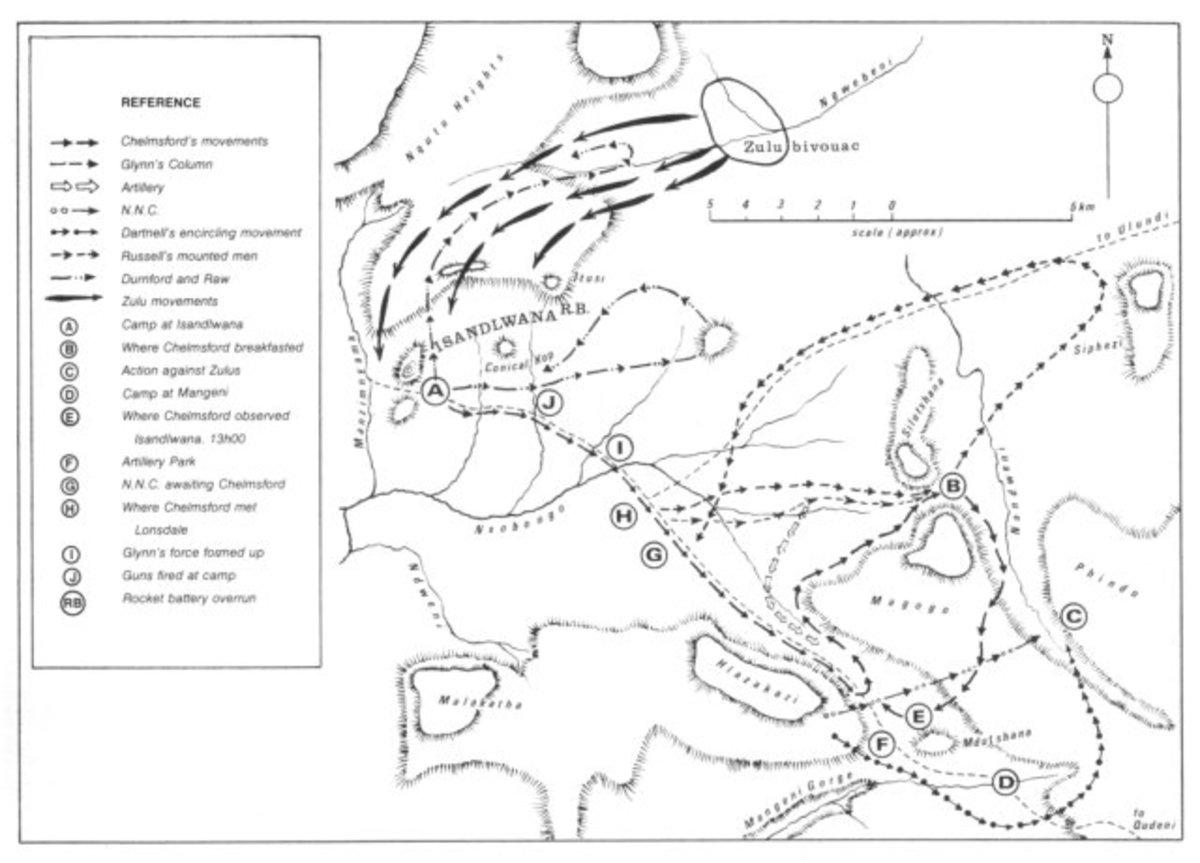 British and Zulu Movements 22 January 1879