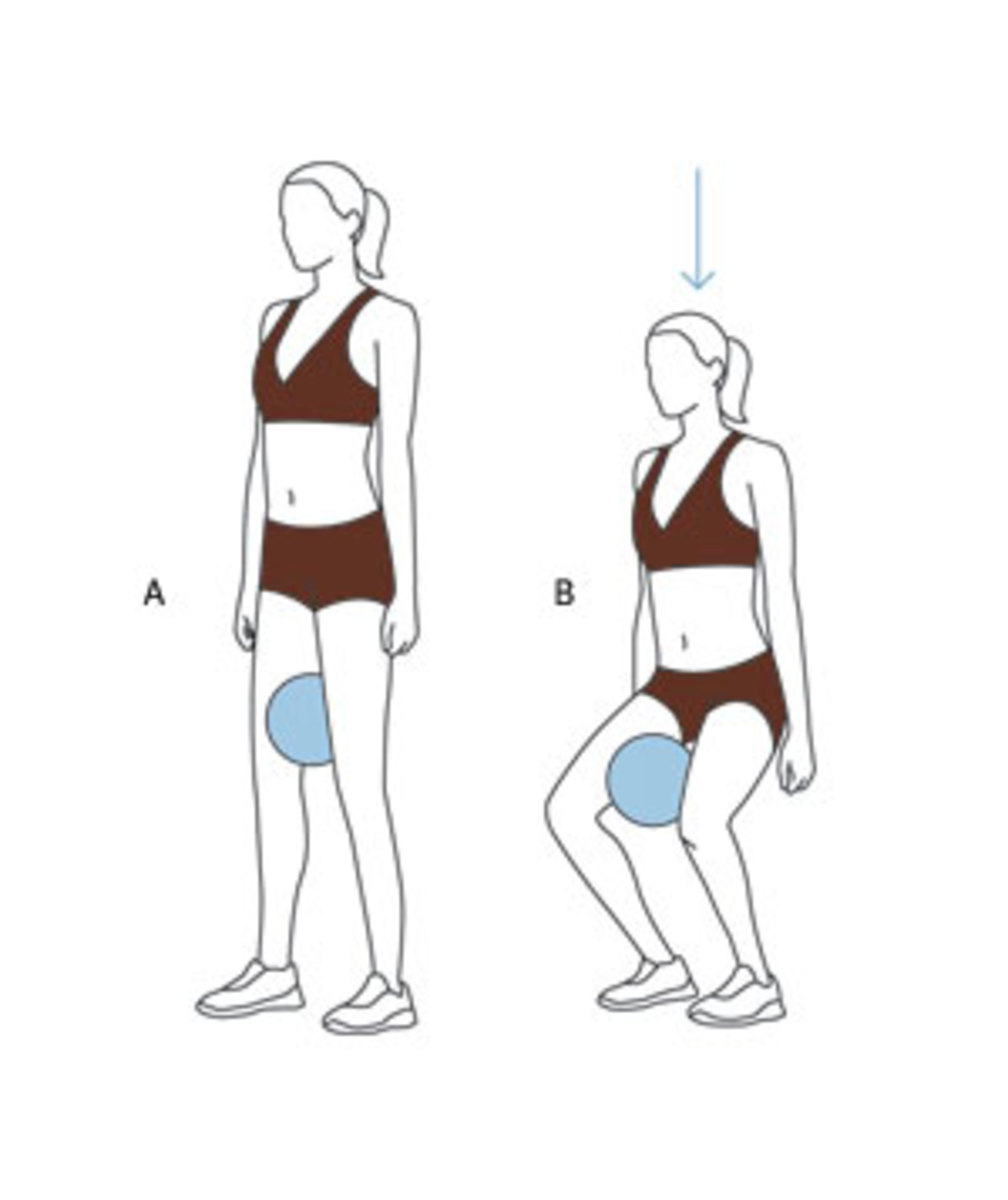diagram of a squat with adduction to engage the leg muscles including the VMO or the teardrop muscle