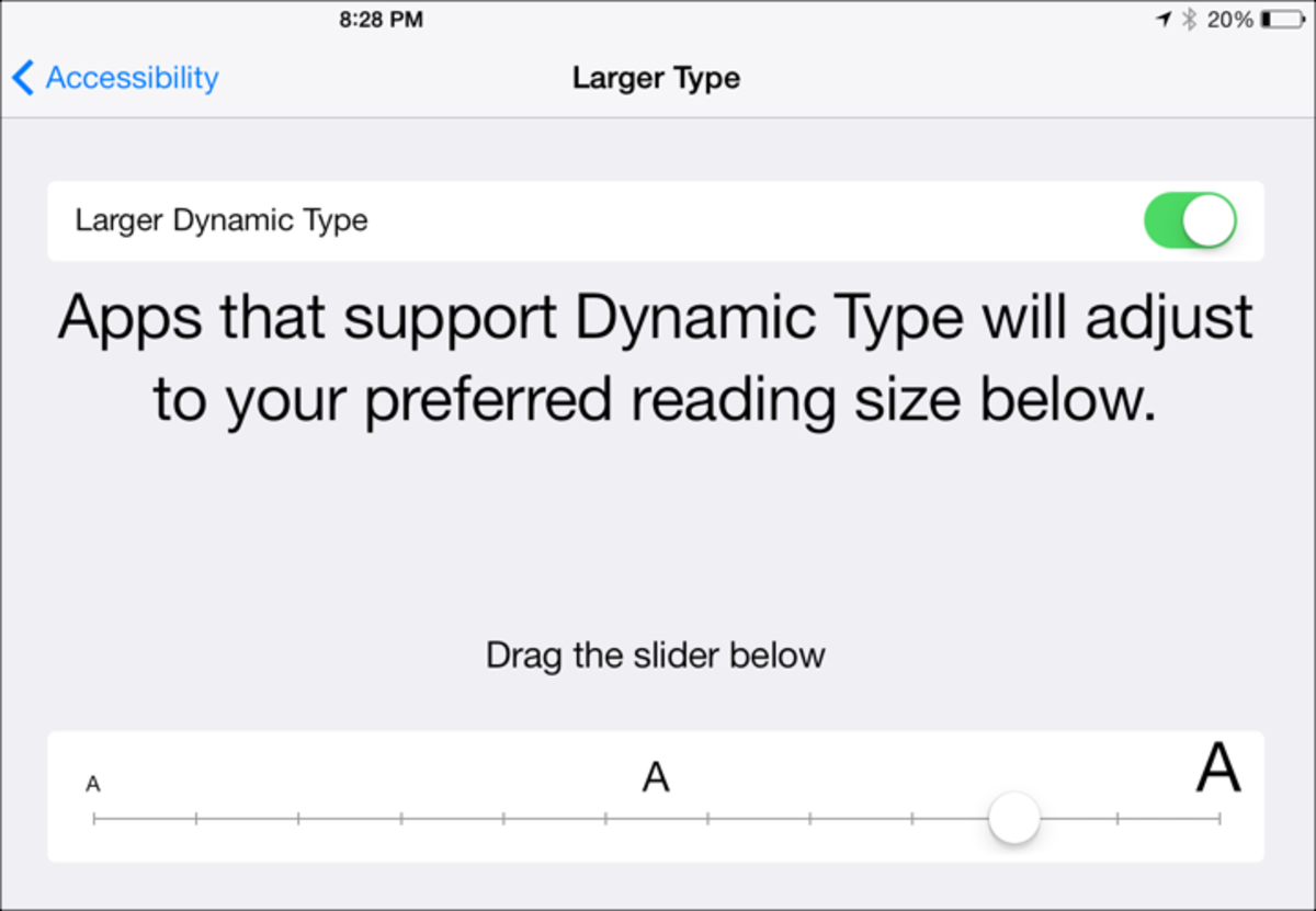 Larger Type Options: Screenshot by Jonathan Wylie © 2014