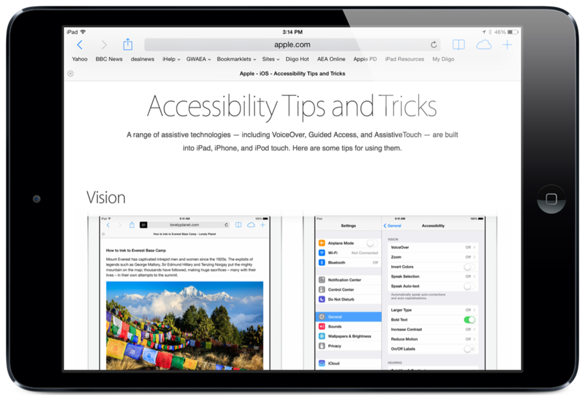 Accessibility Tips and Tricks: Screenshot by Jonathan Wylie © 2014