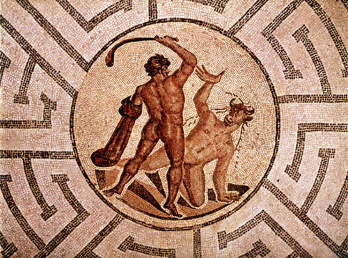 Theseus slaying the Minotaur inside the Labyrinth
