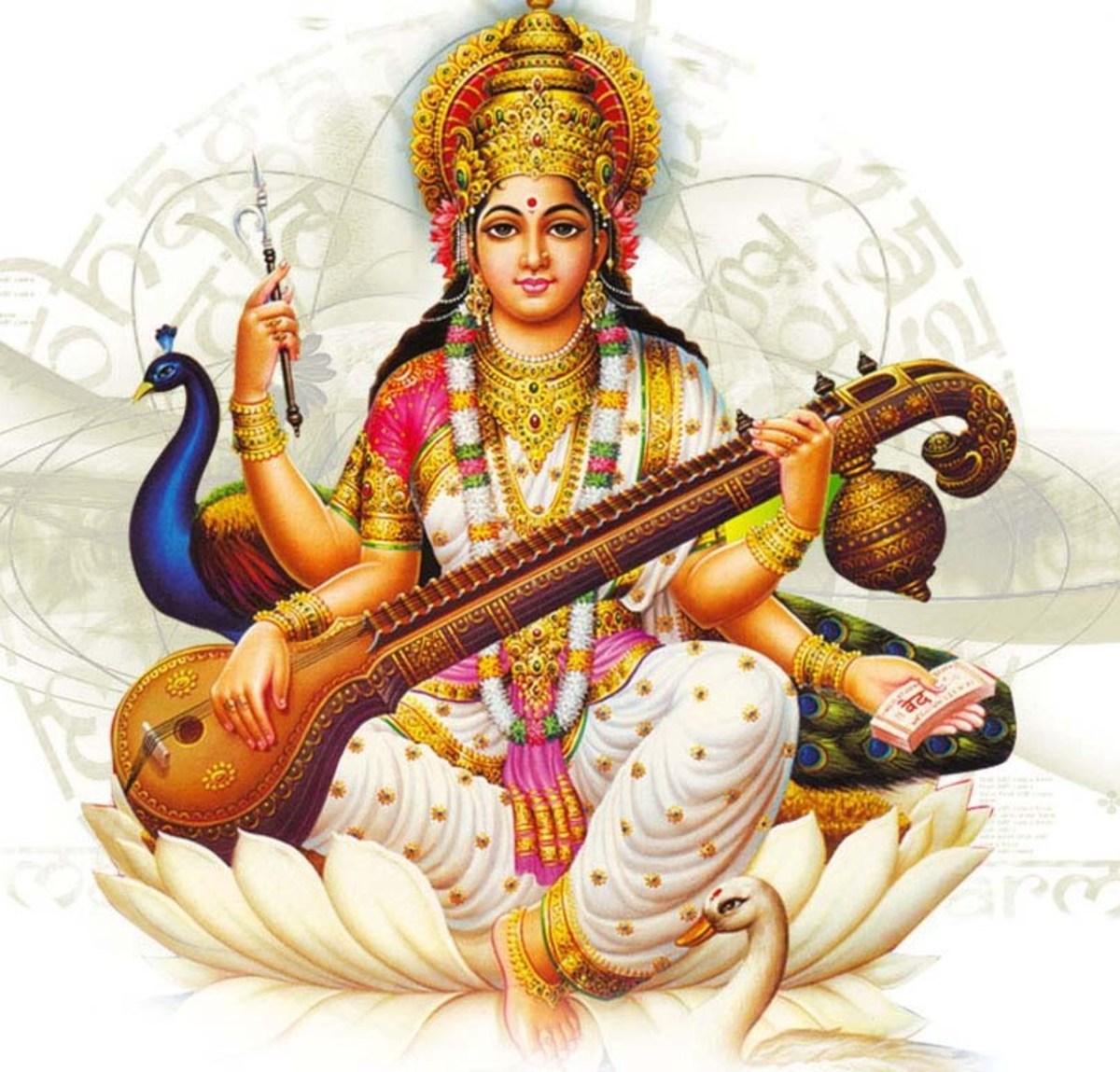 Hindu Goddess Saraswathi ( purity, learning)  seated on a white lotus.