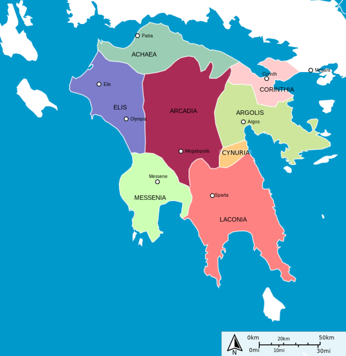 Map of the ancient Peloponese