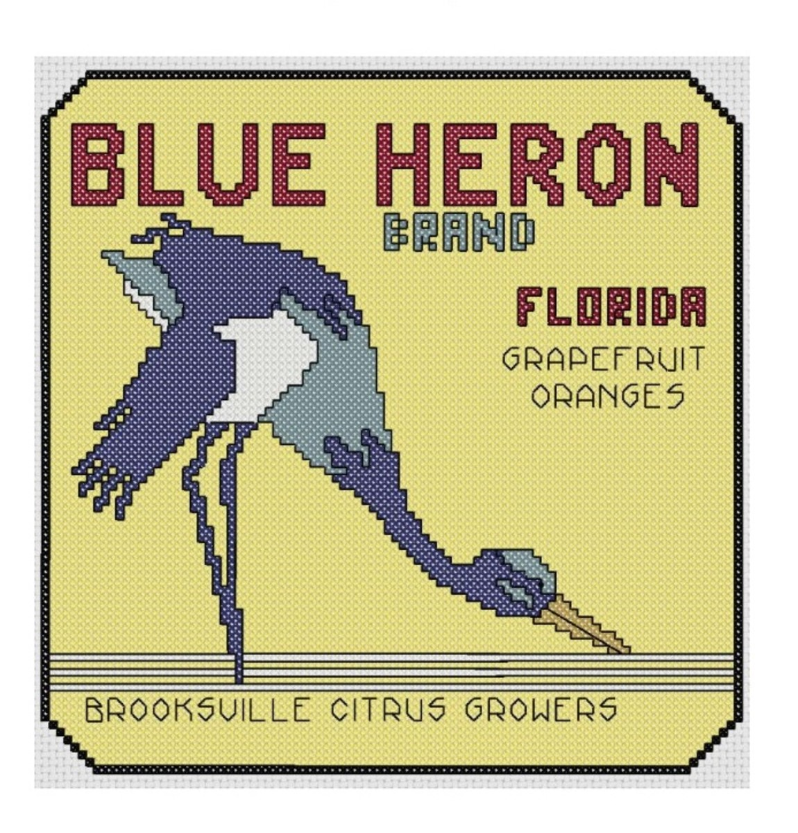 Blue Heron label free cross stitch pattern