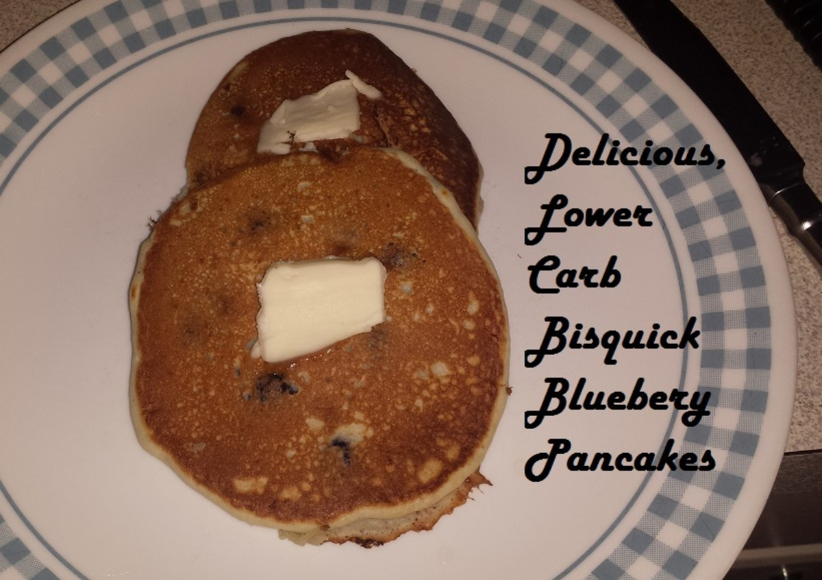 Blueberry Pancakes made with Bisquick and Almond Flour to make them lower carb.