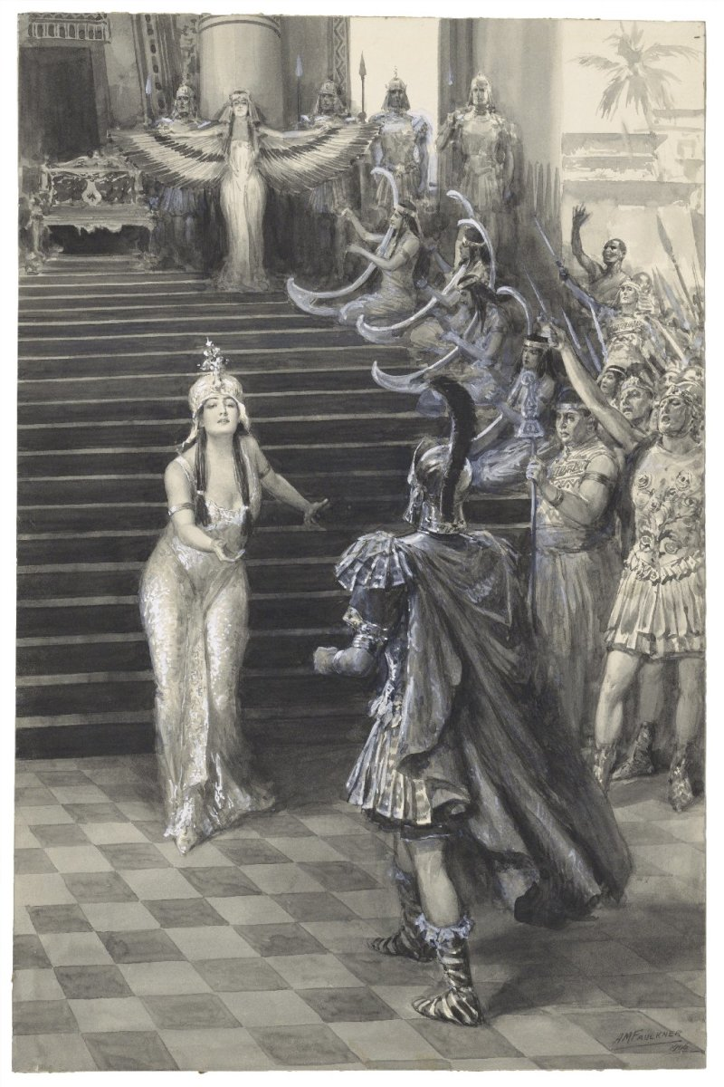 Cleopatra greeting Antony in Shakespeare's Antony and Cleopatra by A. M. Faulkner