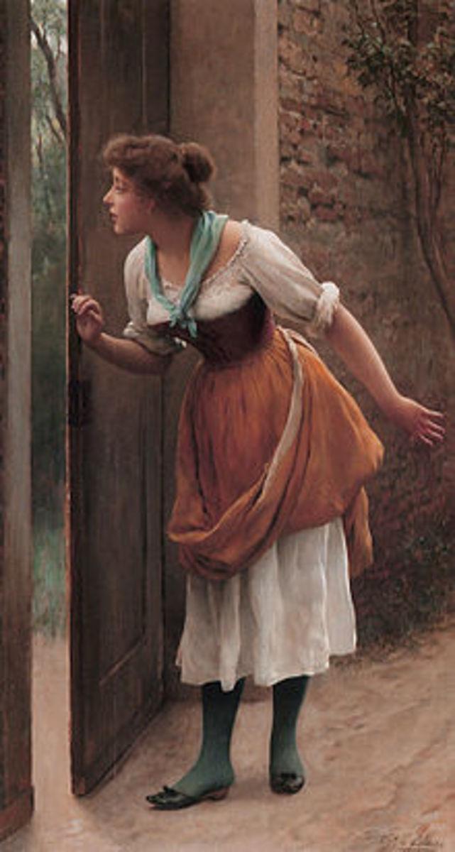 """Eavesdropping"" by Eugene von Blaas"