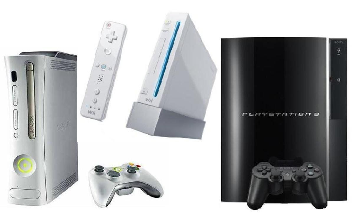 The seventh generation consoles: Xbox 360, Wii, PlayStation 3.