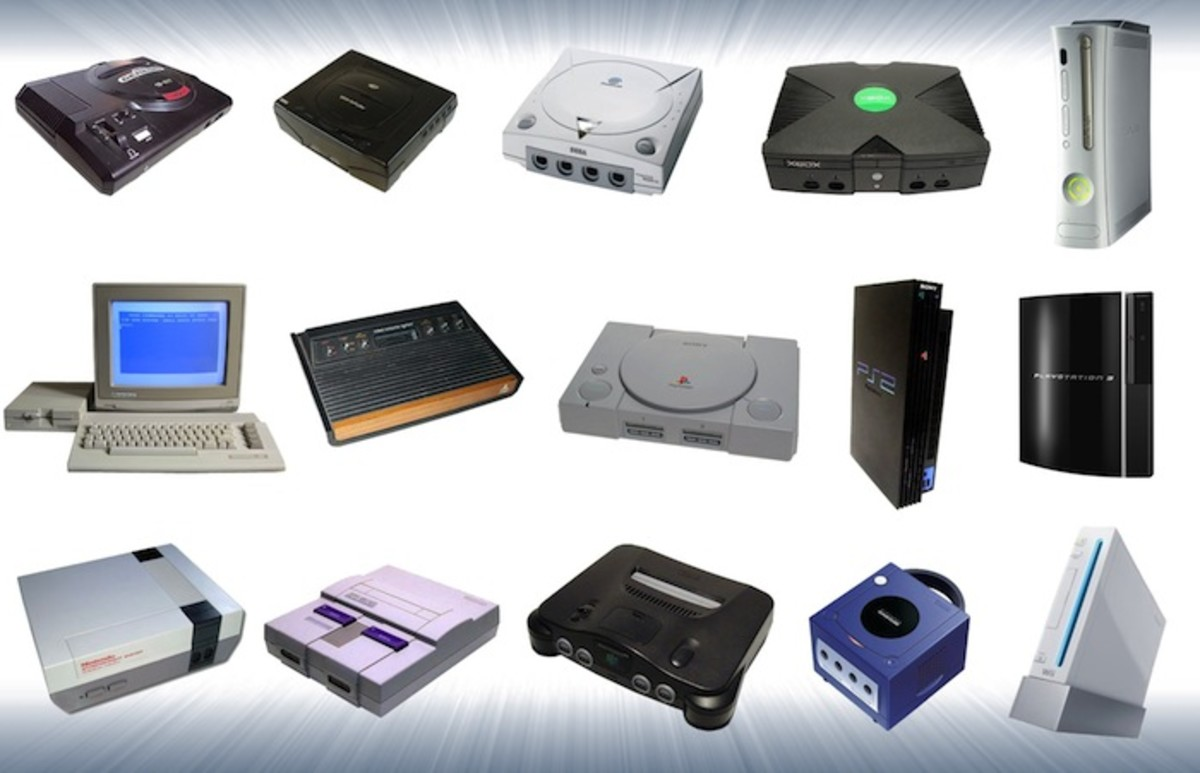 Various consoles of various generations.