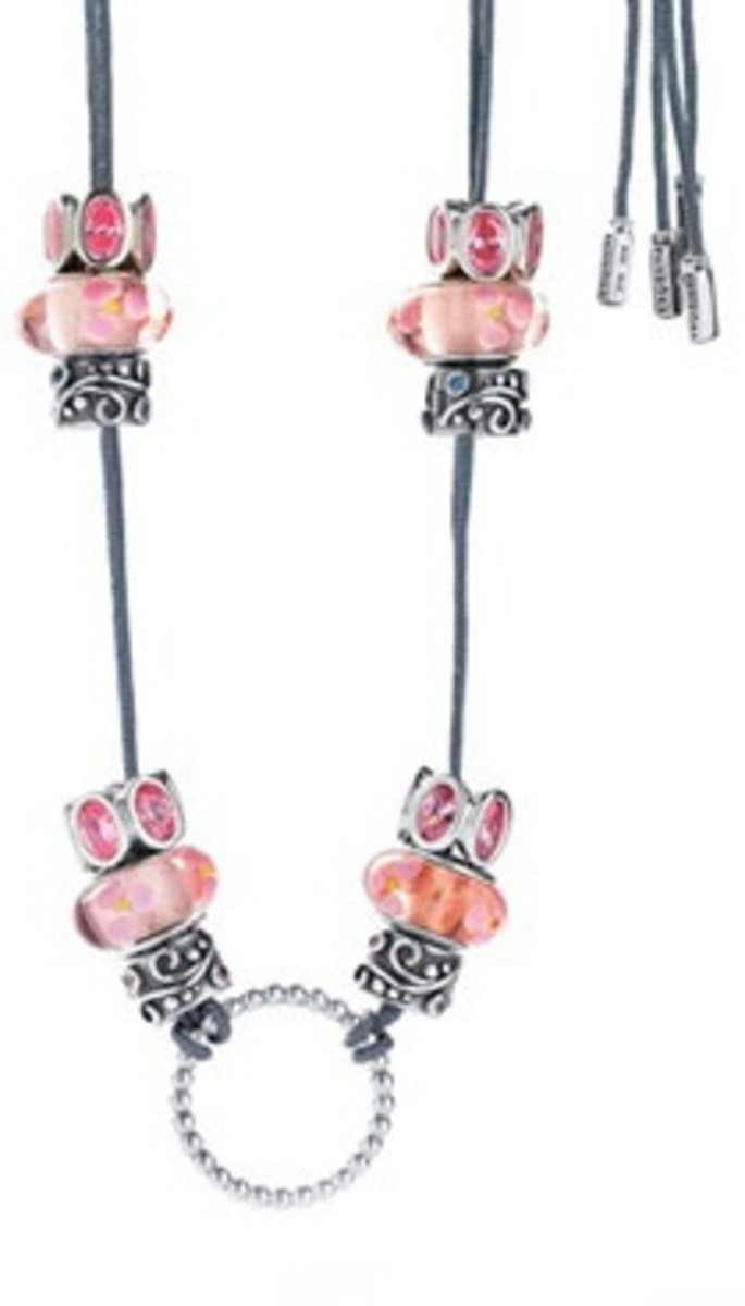 Necklace Design Using a Double Ring with Pandora Style Beads