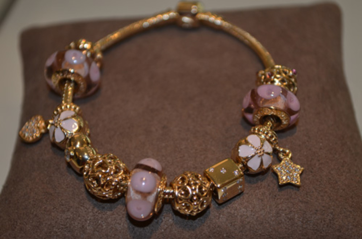 Color Themed Design Necklace for Pandora Style Charms shown here in gold and pink