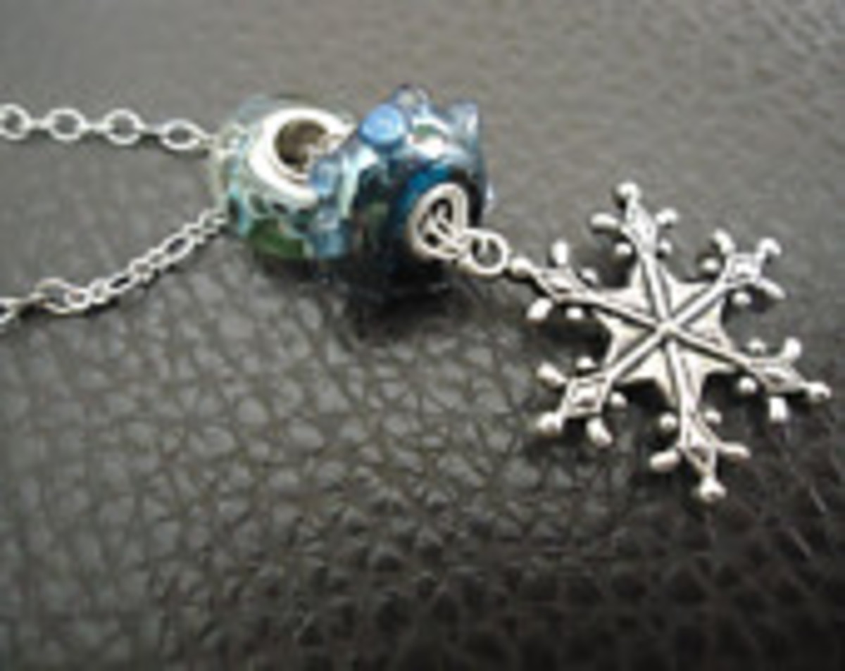 trio of European beads on a lariat necklace