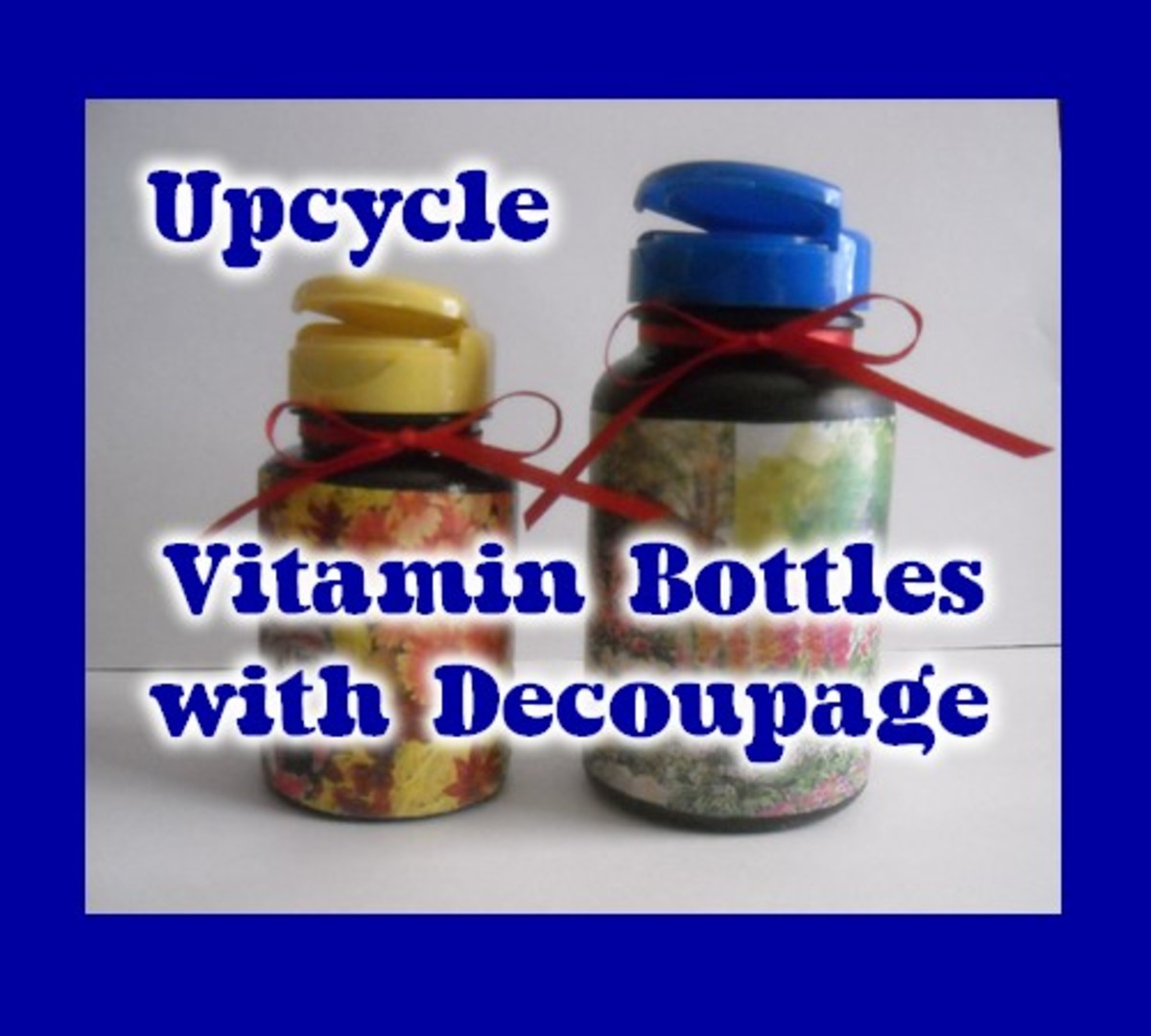 Upcycle Vitamin Bottles with Decoupage