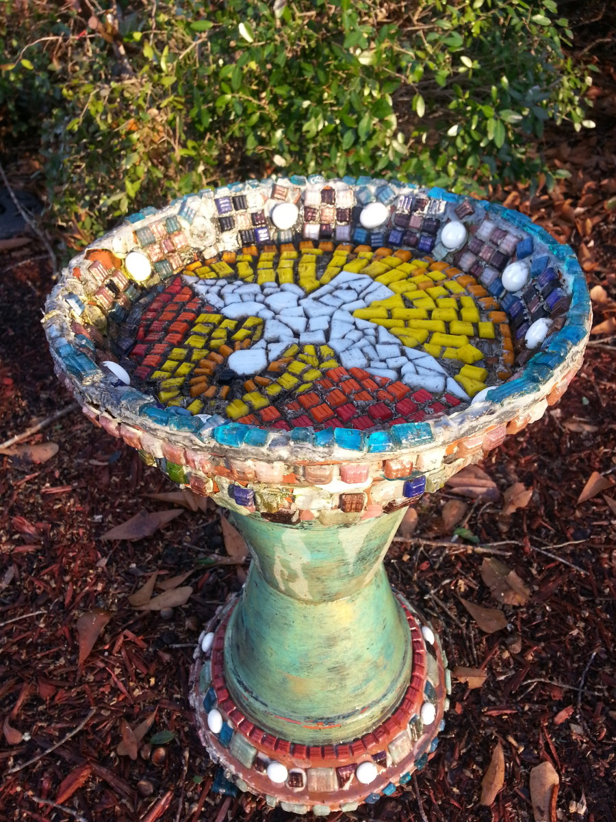 My Mosaic Birdbath Creation