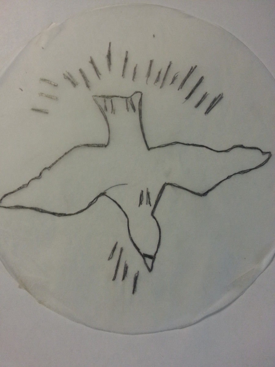 Descending dove design on tracing paper.
