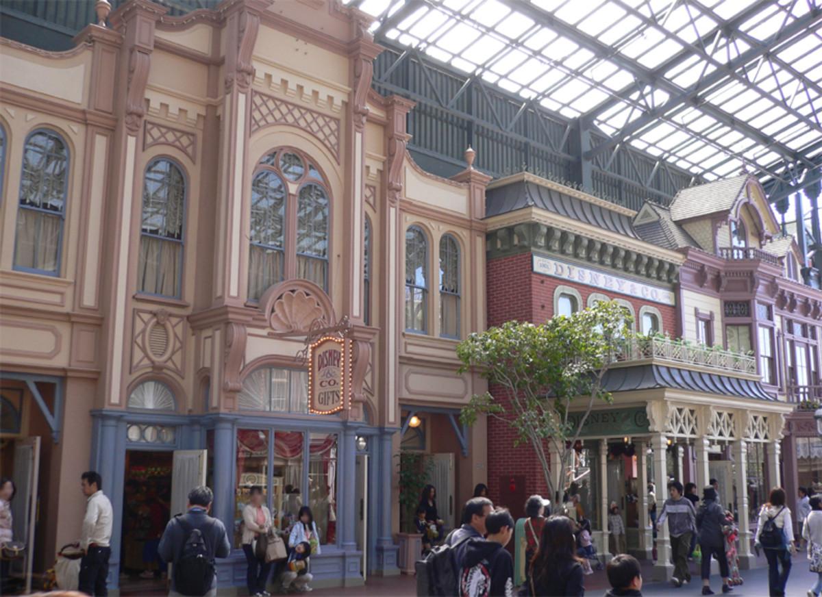 Glass enclosure over Main Street at Tokyo Disney.