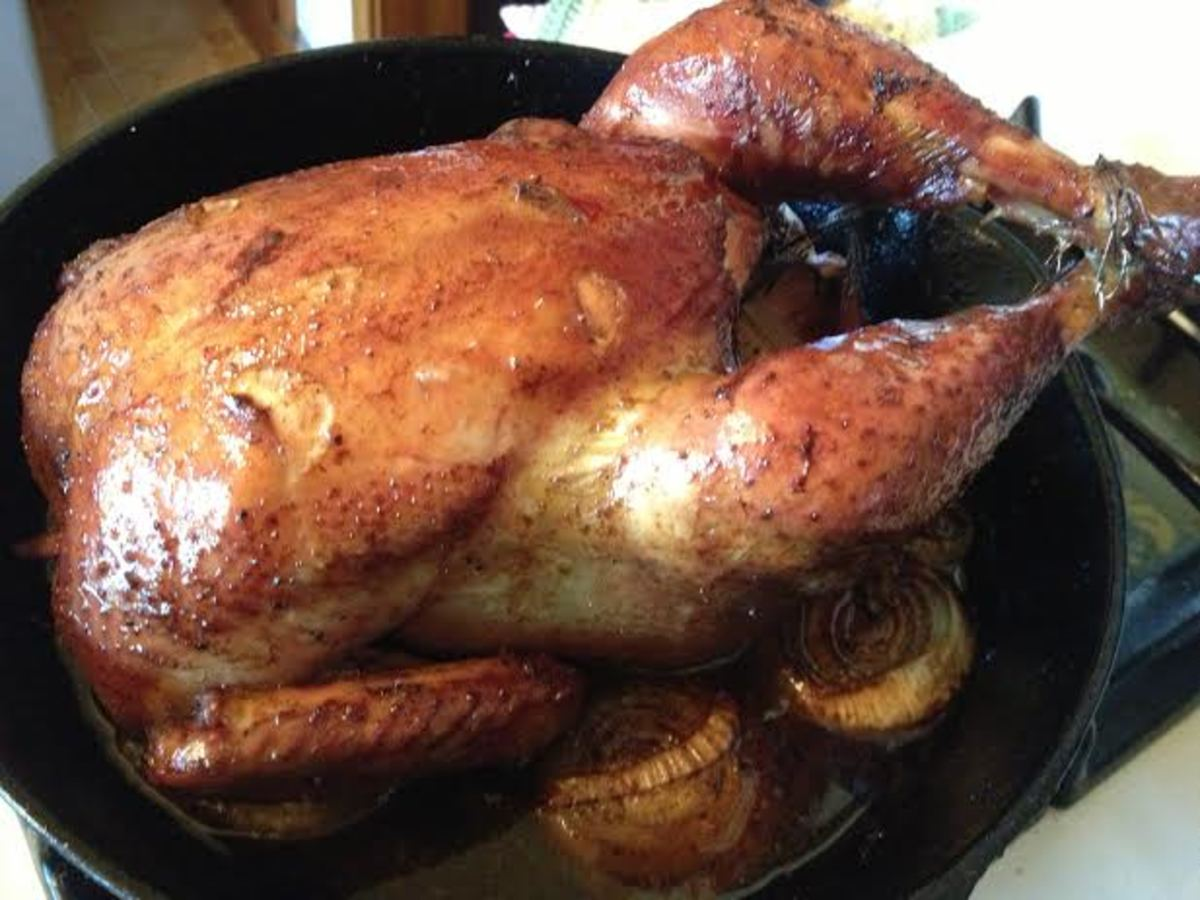Once the thigh temp has reached 170 degrees, your chicken is done, and should be beautifully browned like this one.