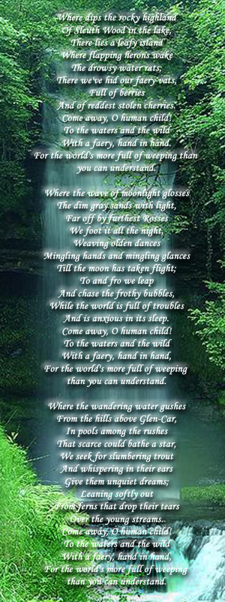 William Butler Yates poem (1886) against photo of Glencar waterfall (public domain image).