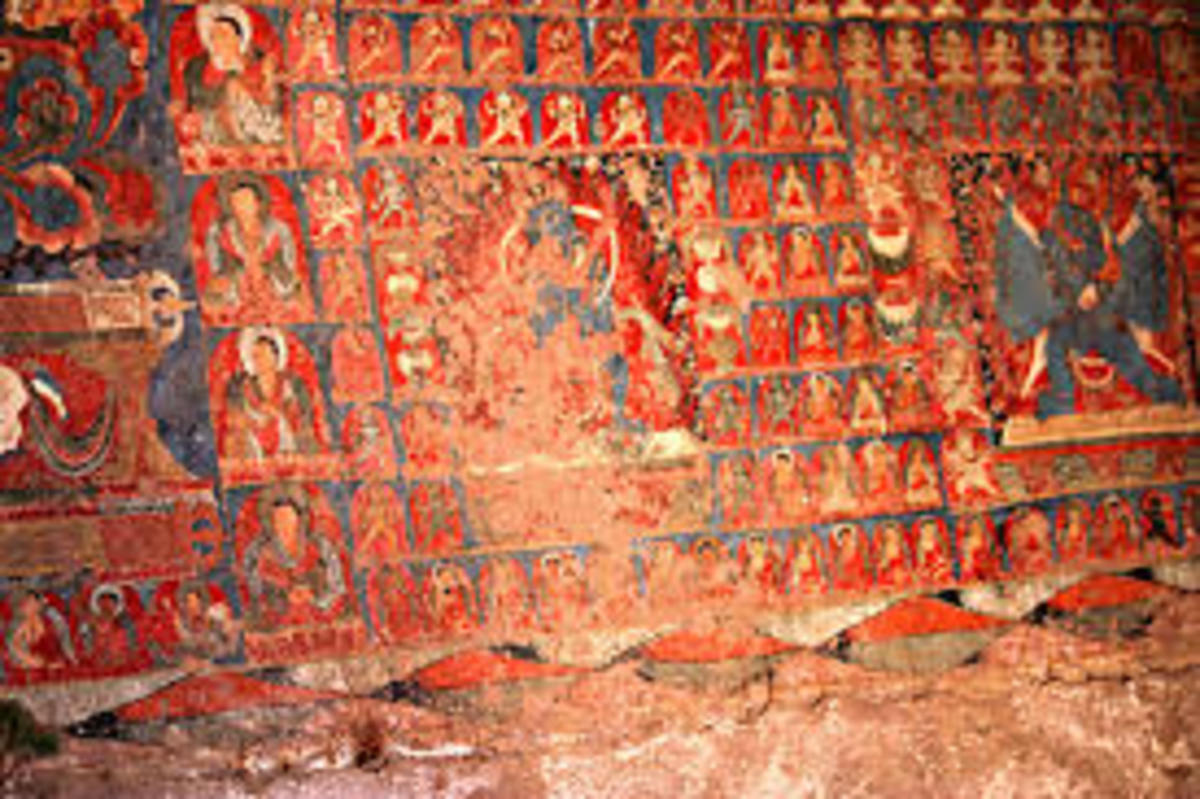7th century mud wall painting