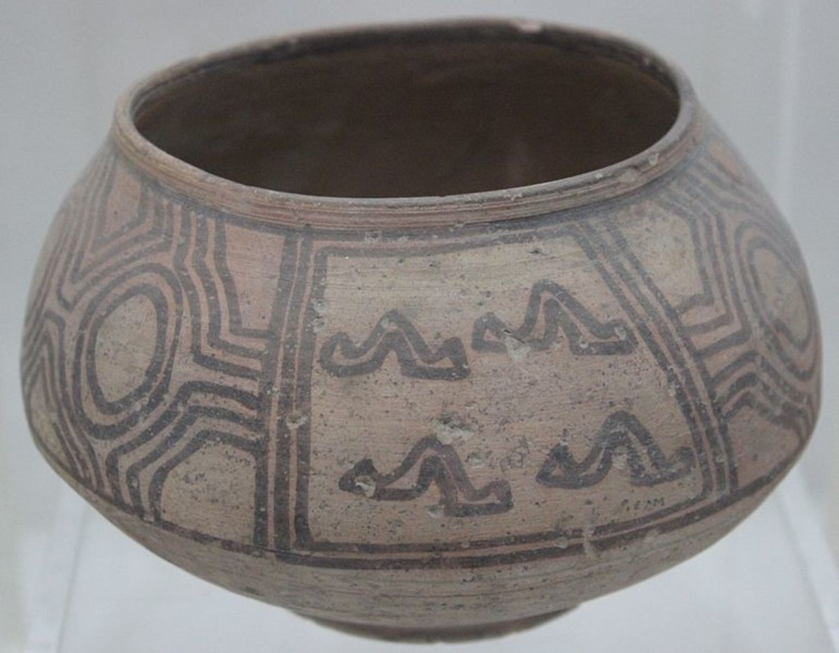 pottery with geometrical design in the harrappan gallery of the National Museum