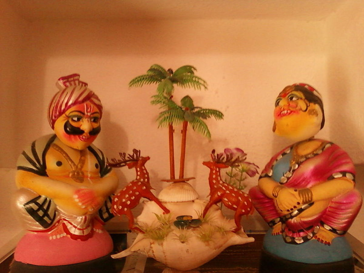 Pair of famous Kondapalli toys at a house in Vijayawada