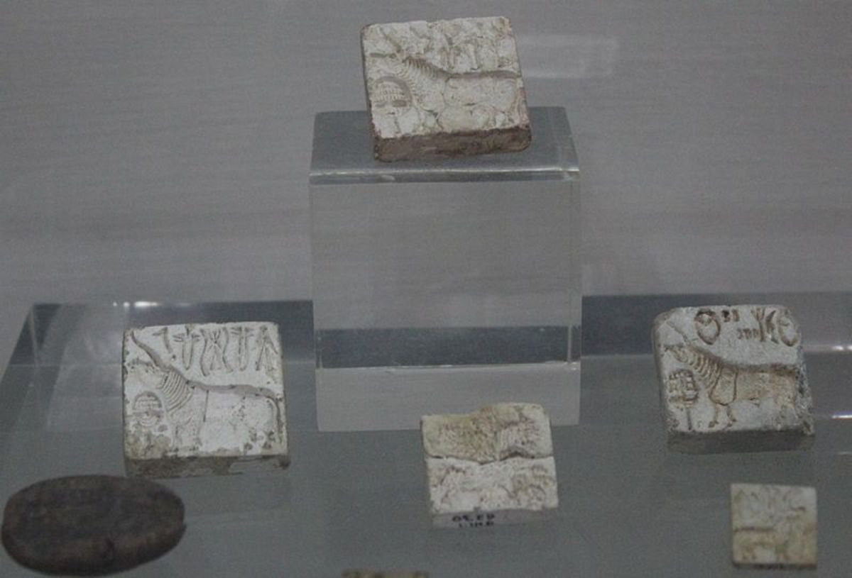 Seals of the Harappan Civilization on display in the National Museum