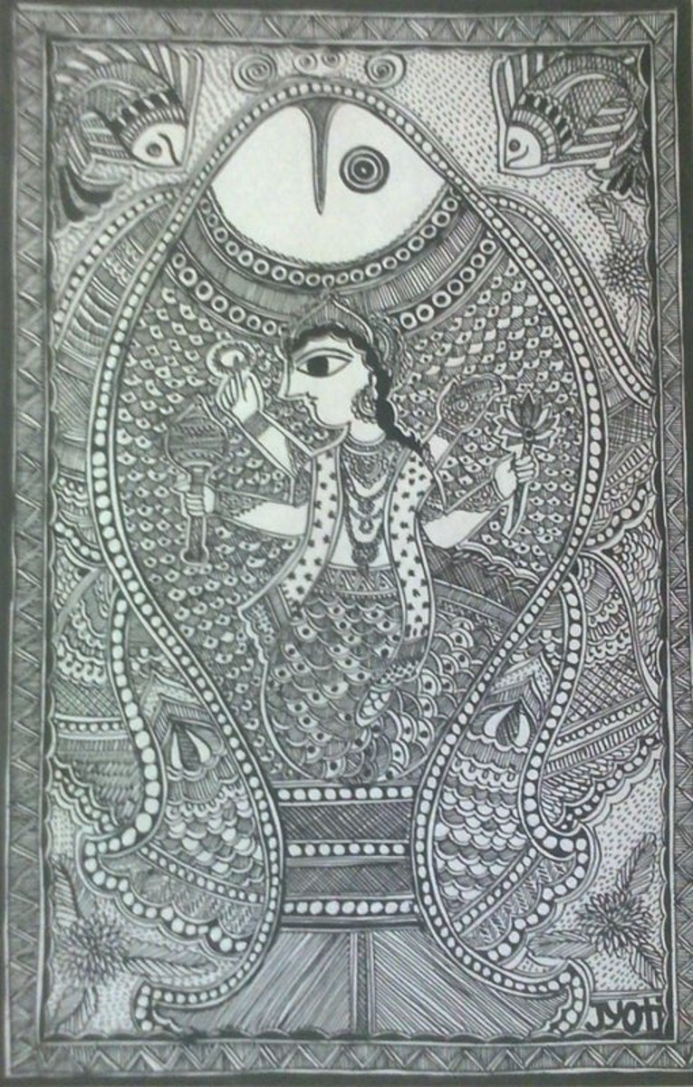 God Vishnu in Fish Incarnation in Mud Wall Painting