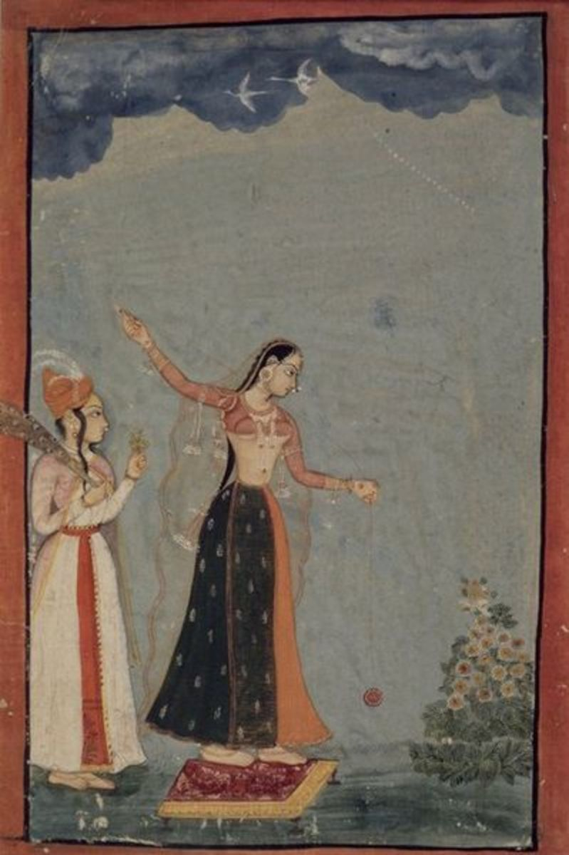Lady playing with a Yo-yo, the Rajashtan, Bundi or Kota painting of 1770 AD