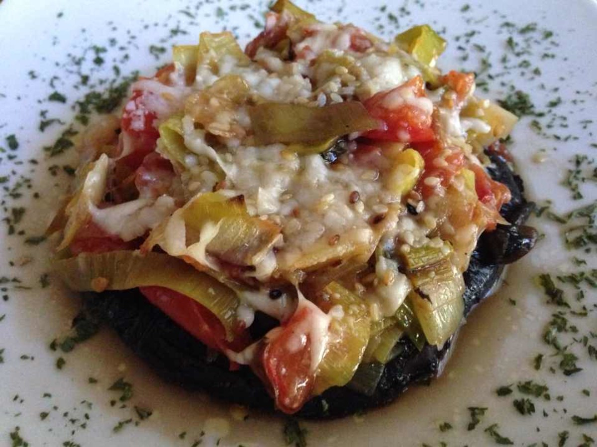 Roasted Portobello Mushrooms With Leek and Tomato