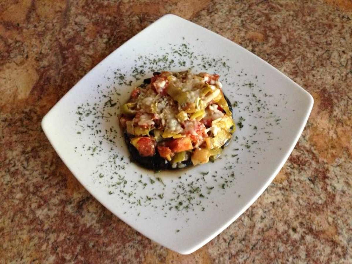 Roasted Portobello Mushrooms With Leek and Tomato