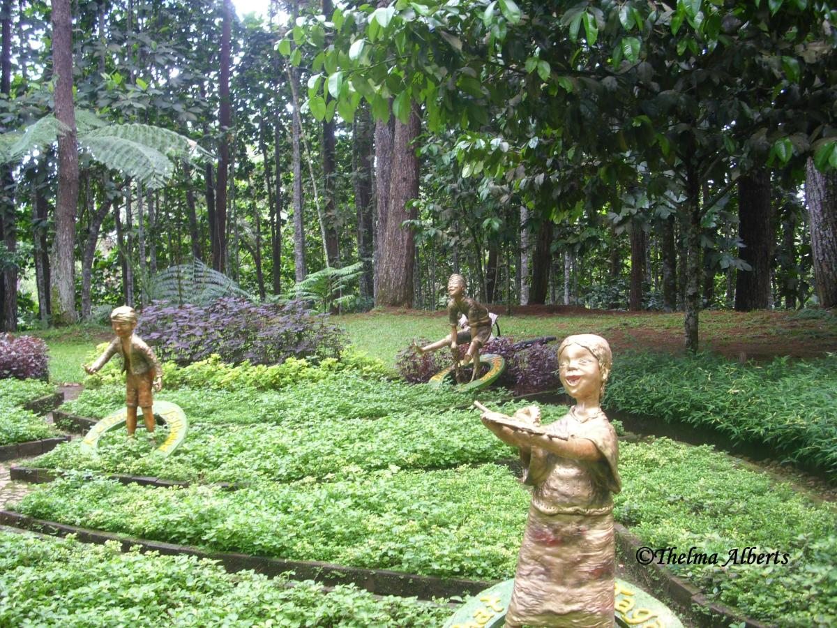 Some sculptures in the garden.