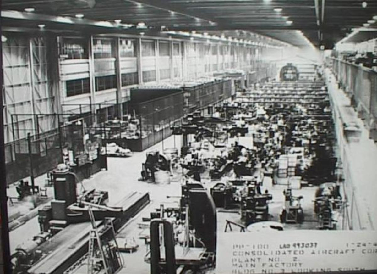 B-24 Manufacturing Plant at Consolidated in San Diego.  View of assembly line.  They were also made by Ford at their Willow Run  Plant in Michigan.  Consolidated also had a plant in Texas.