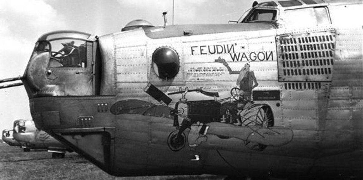 "Another aircraft flown by Bowman and crew known as the ""Feuding Wagon"" after their original aircraft was damaged."