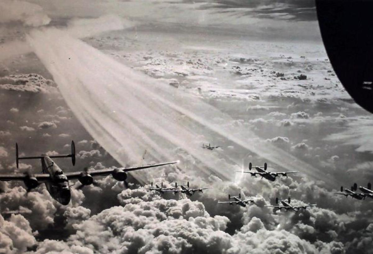 The 492nd Bomb Group flying in formation.