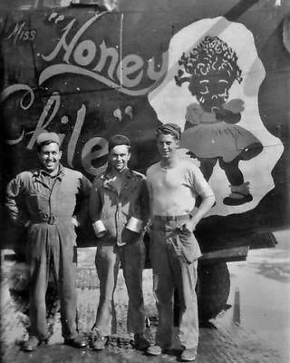 """The B-24 bomber """"Miss Honey Chile of the 492nd Bomb Group."""