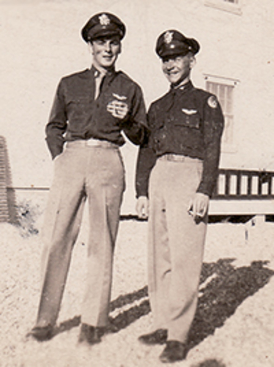 Capt. James Bowman on the left. known as the Chief.  1st Lt. Quentin Bowerman on the right.