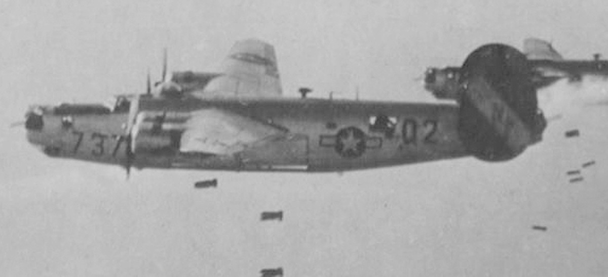 The aircraft (42-50737) flown by Bowman on Mission 23 on July 25, 1944 over St. Lo area, France.