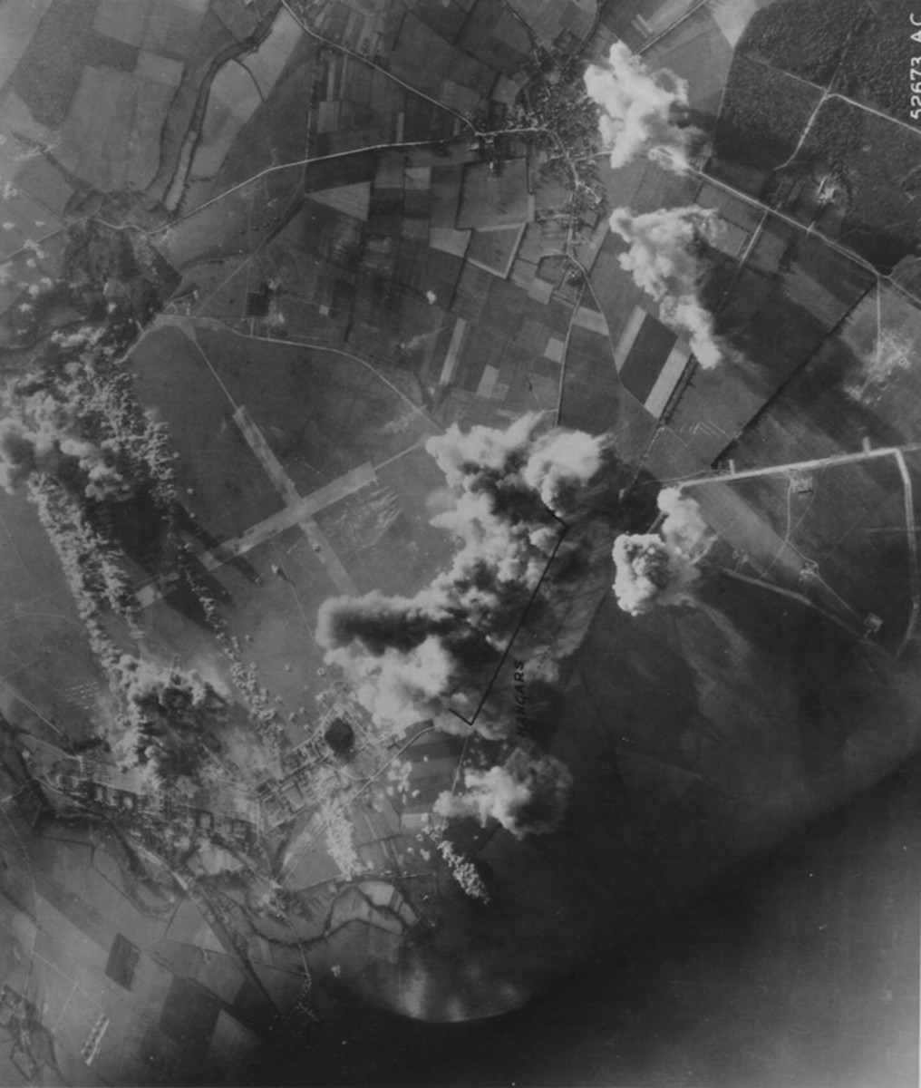 Strike Photo of Airfield, Avord France June 4, 1944