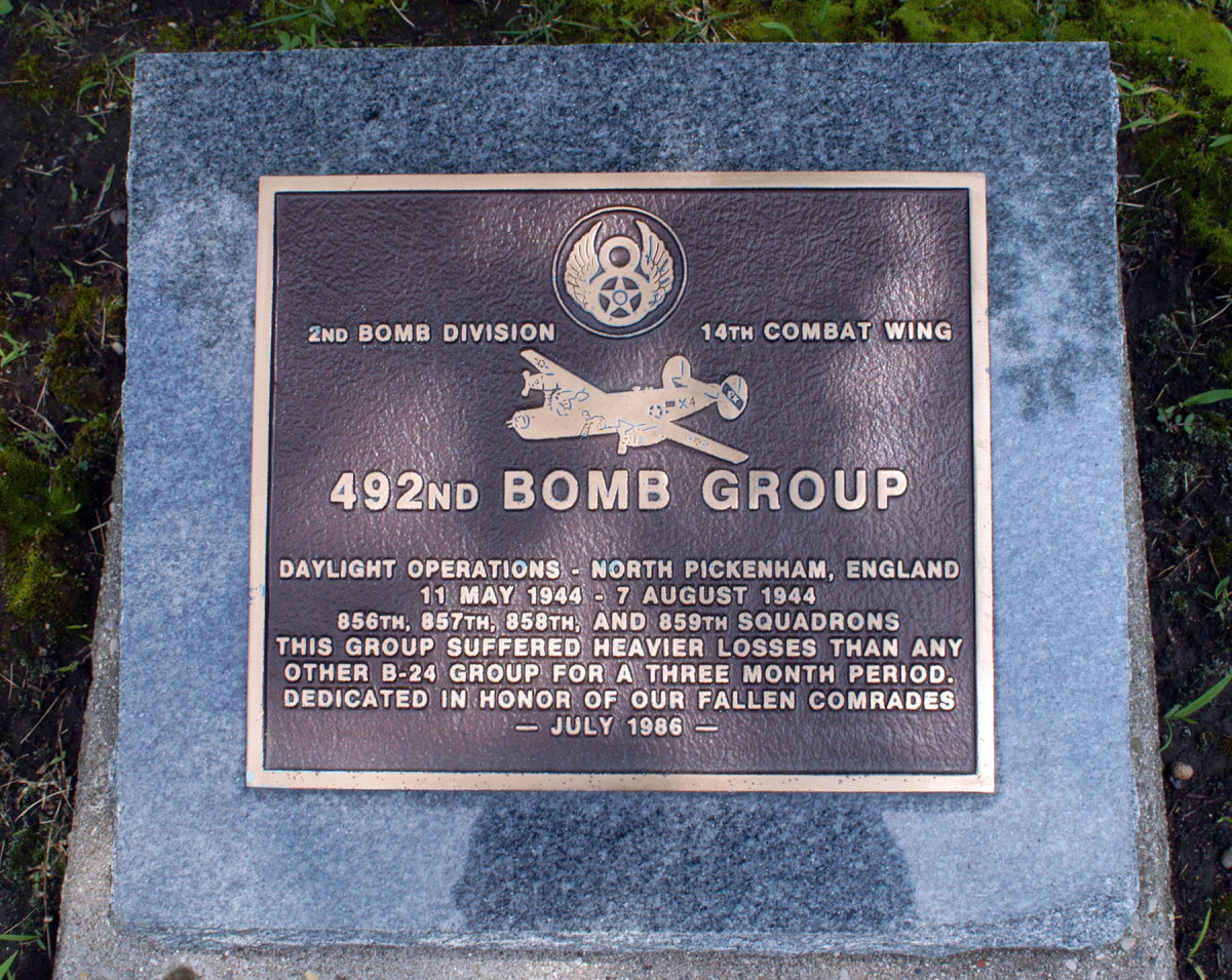 Memorial to the 492nd Bomb Group in England.
