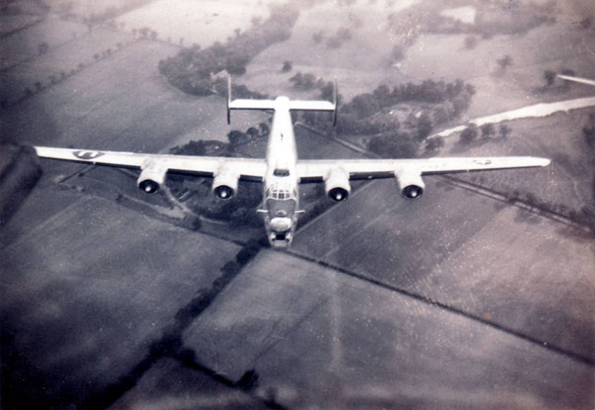 The Bowman B-24 Liberator in flight to England from New Mexico April 1944. Photo source of Bob Garrett, son of Bowman crew radio operator Howard Garrett.