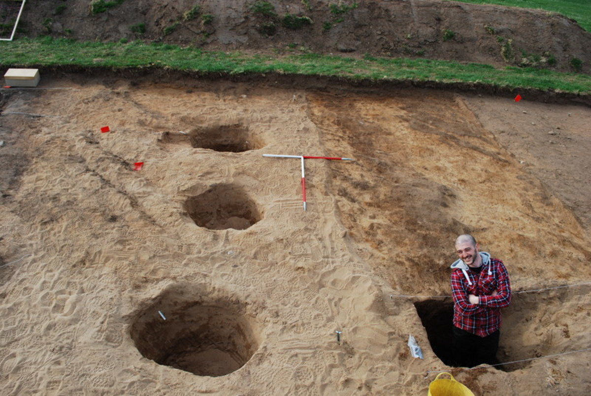 Archaeological dig in the village of Rhynie, Scotland showing Pict drawings.