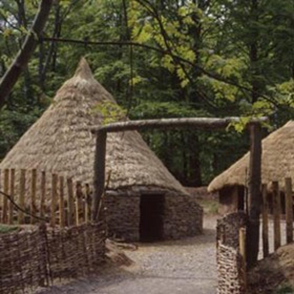 Reconstruction of round houses of the Picts in Scotland.