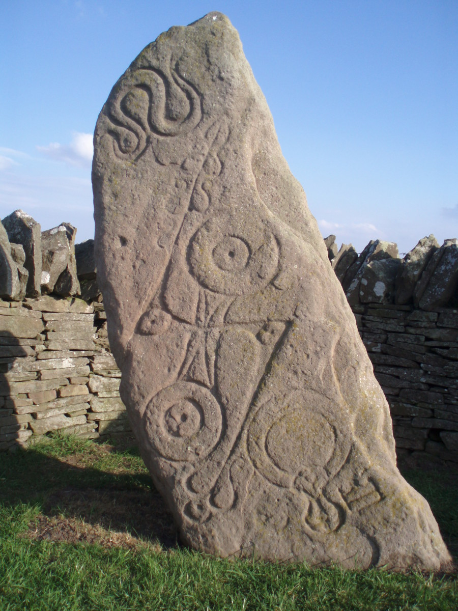 Serpent Stone with Pict drawings and engravings.