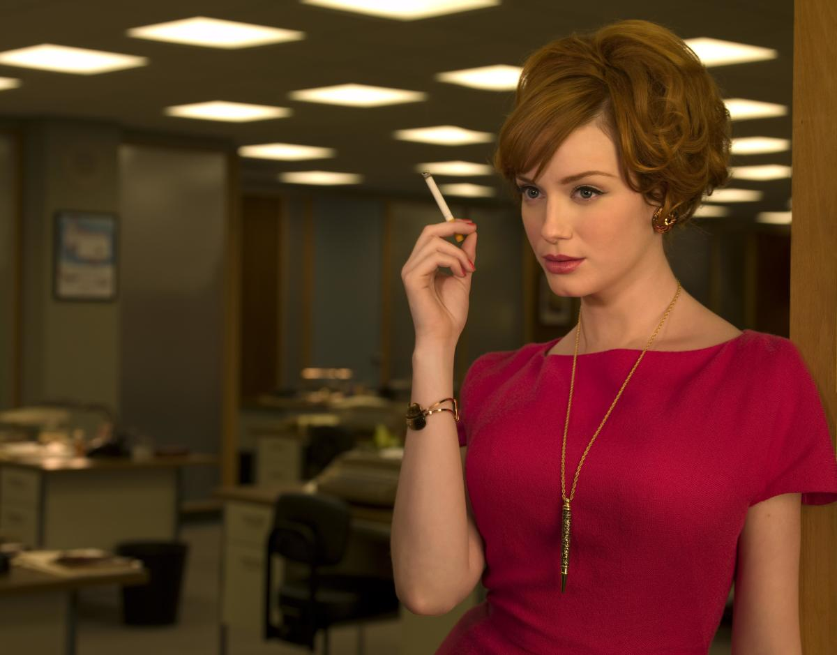 Joan Holloway smoking