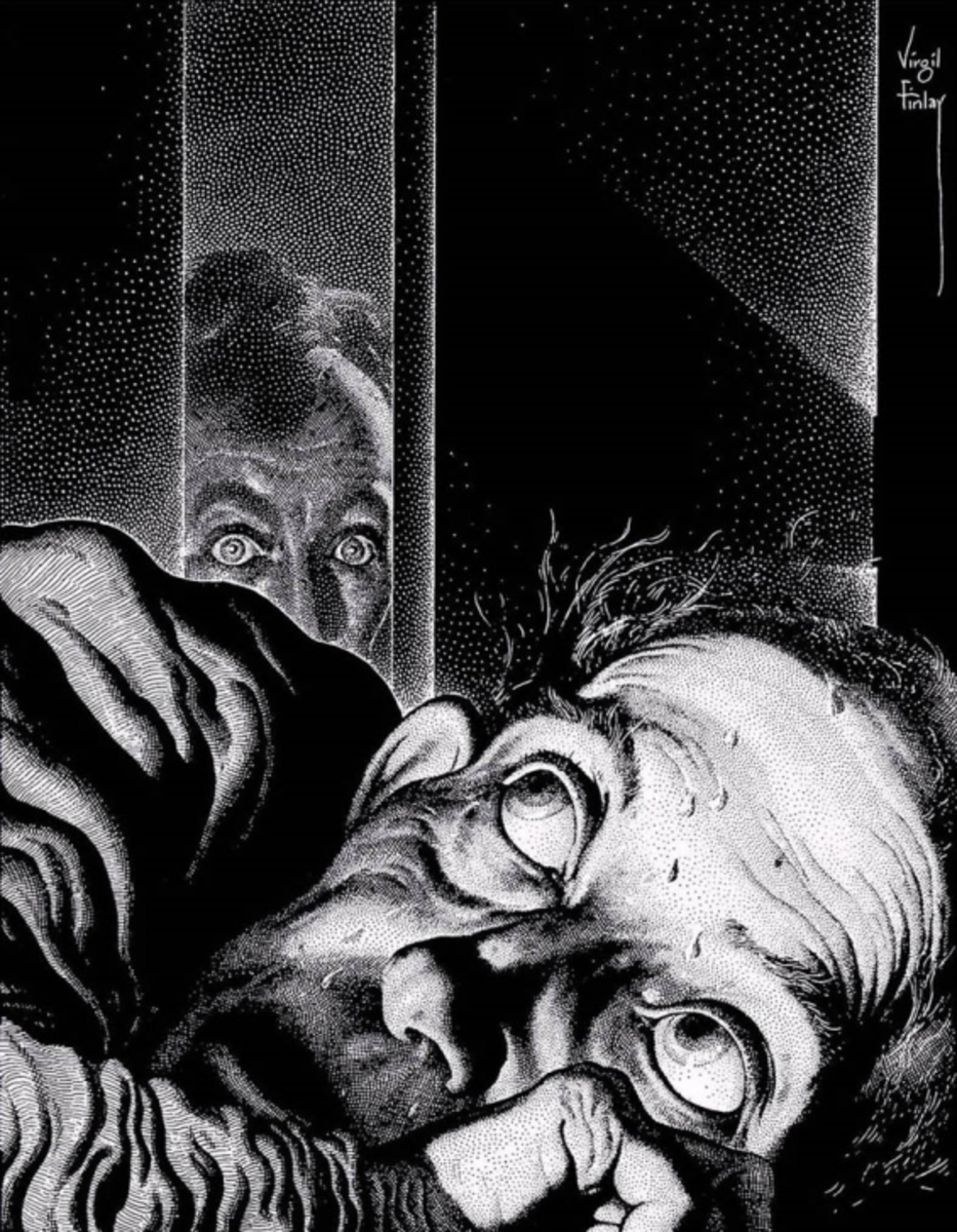 Illustration by Virgil Finlay of a scene from 'The Tell Tale Heart'